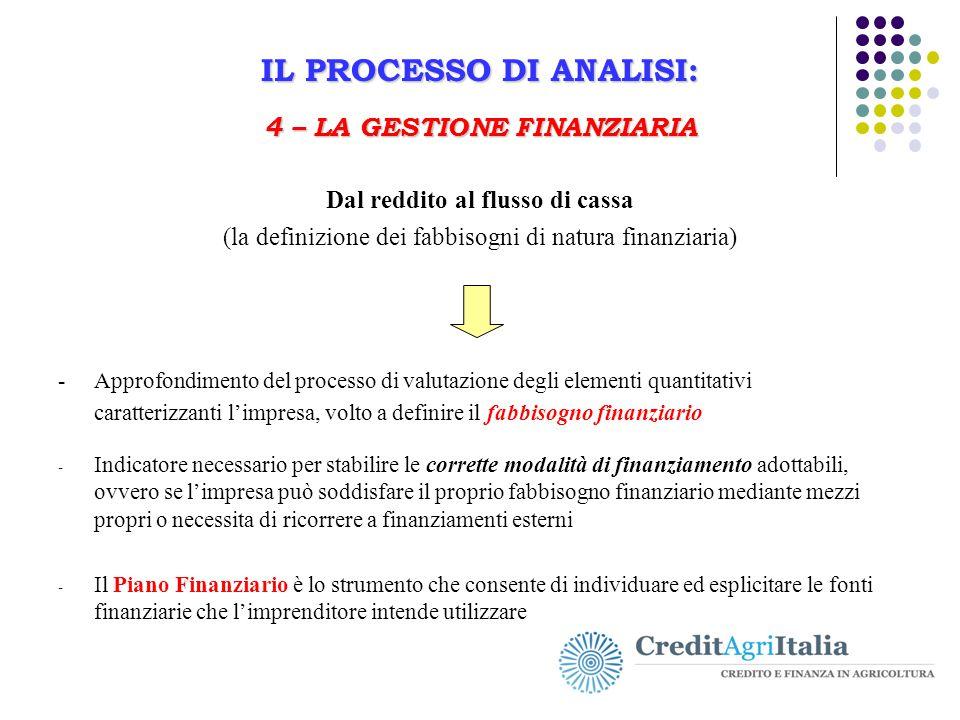 IL PROCESSO DI ANALISI: 4 – LA GESTIONE FINANZIARIA Il Business Plan in agricoltura IL PROCESSO DI ANALISI: 4 – LA GESTIONE FINANZIARIA Dal reddito al