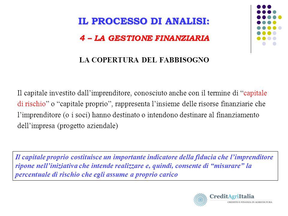IL PROCESSO DI ANALISI: 4 – LA GESTIONE FINANZIARIA Il Business Plan in agricoltura IL PROCESSO DI ANALISI: 4 – LA GESTIONE FINANZIARIA LA COPERTURA D