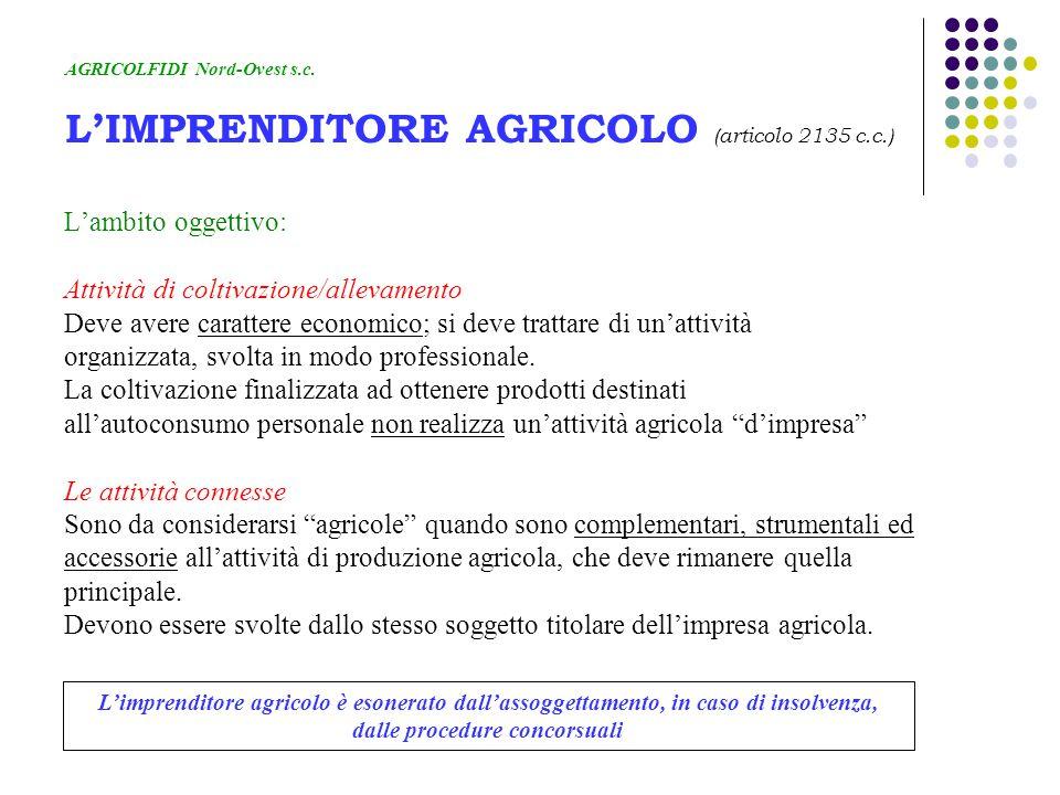 AGRICOLFIDI Nord-Ovest s.c. L'IMPRENDITORE AGRICOLO (articolo 2135 c.c.) L'ambito oggettivo: Attività di coltivazione/allevamento Deve avere carattere