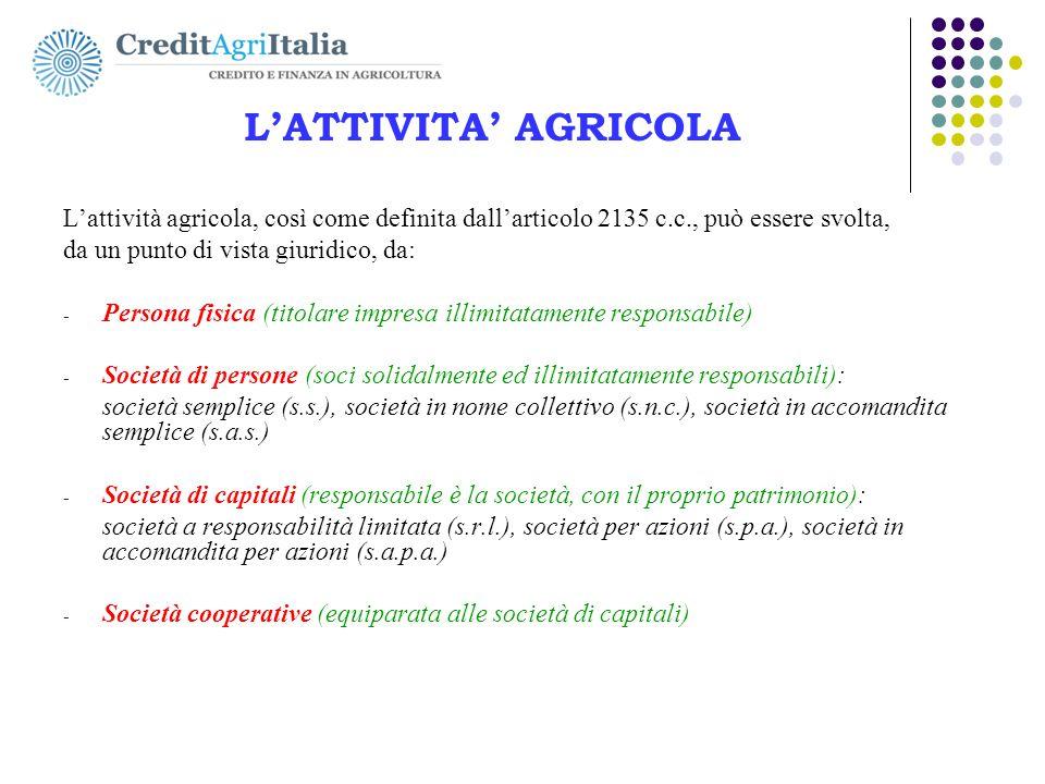 L'ATTIVITA' AGRICOLA L'attività agricola, così come definita dall'articolo 2135 c.c., può essere svolta, da un punto di vista giuridico, da: - Persona