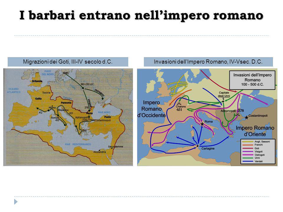 I barbari entrano nell'impero romano Migrazioni dei Goti, III-IV secolo d.C.Invasioni dell'Impero Romano, IV-Vsec. D.C.