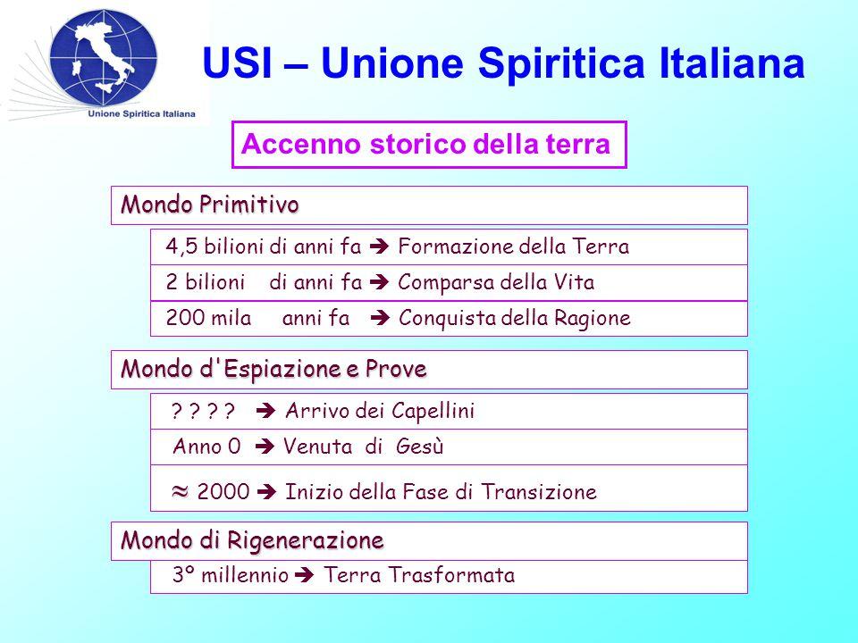 USI – Unione Spiritica Italiana 4,5 bilioni di anni fa  Formazione della Terra 2 bilioni di anni fa  Comparsa della Vita 200 mila anni fa  Conquista della Ragione Mondo Primitivo Accenno storico della terra .