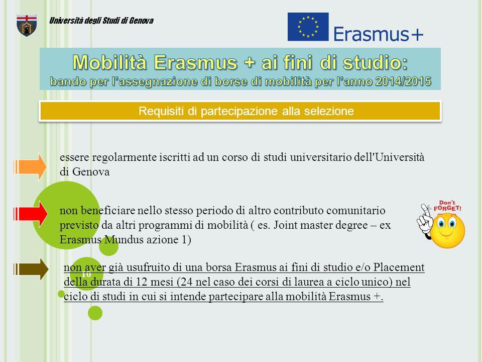 10 Università degli Studi di Genova Requisiti di partecipazione alla selezione essere regolarmente iscritti ad un corso di studi universitario dell Università di Genova non beneficiare nello stesso periodo di altro contributo comunitario previsto da altri programmi di mobilità ( es.