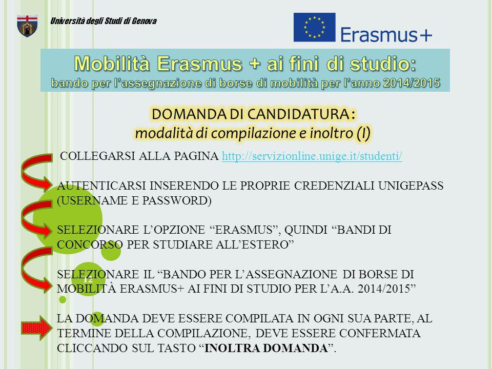 12 Università degli Studi di Genova COLLEGARSI ALLA PAGINA http://servizionline.unige.it/studenti/http://servizionline.unige.it/studenti/ AUTENTICARSI INSERENDO LE PROPRIE CREDENZIALI UNIGEPASS (USERNAME E PASSWORD) SELEZIONARE L'OPZIONE ERASMUS , QUINDI BANDI DI CONCORSO PER STUDIARE ALL'ESTERO SELEZIONARE IL BANDO PER L'ASSEGNAZIONE DI BORSE DI MOBILITÀ ERASMUS+ AI FINI DI STUDIO PER L'A.A.