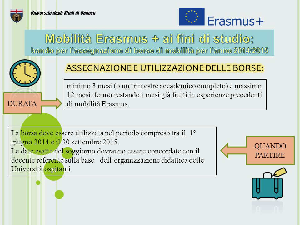 21 Università degli Studi di Genova DURATA minimo 3 mesi (o un trimestre accademico completo) e massimo 12 mesi, fermo restando i mesi già fruiti in esperienze precedenti di mobilità Erasmus.