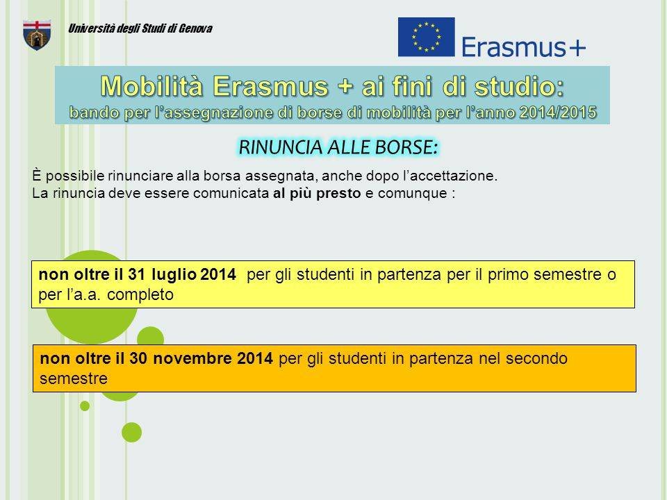 22 Università degli Studi di Genova È possibile rinunciare alla borsa assegnata, anche dopo l'accettazione.