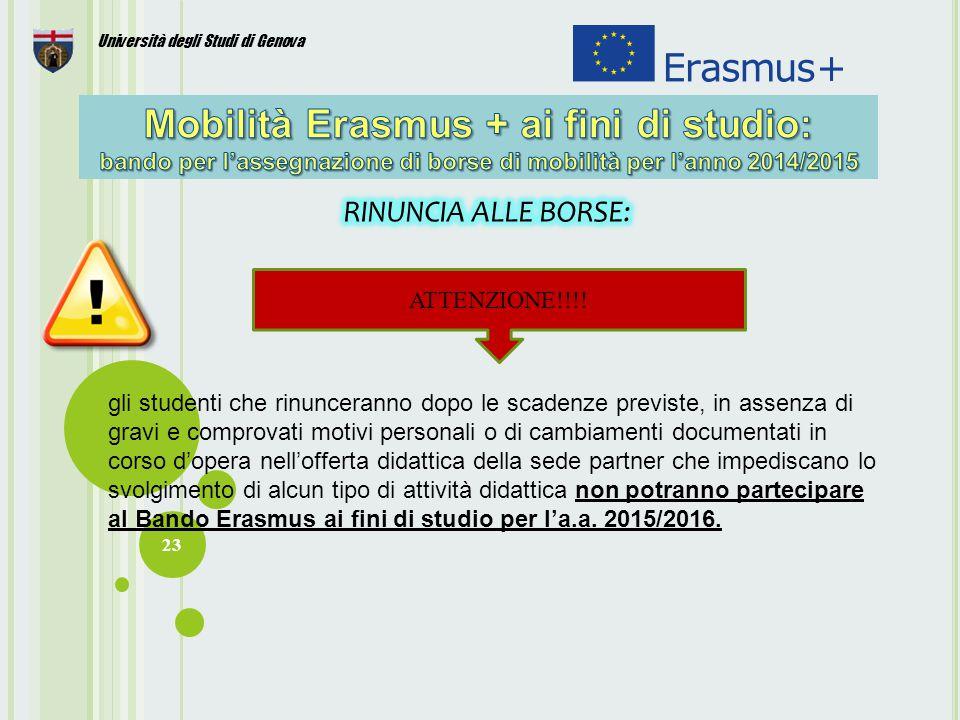 23 Università degli Studi di Genova ATTENZIONE!!!.