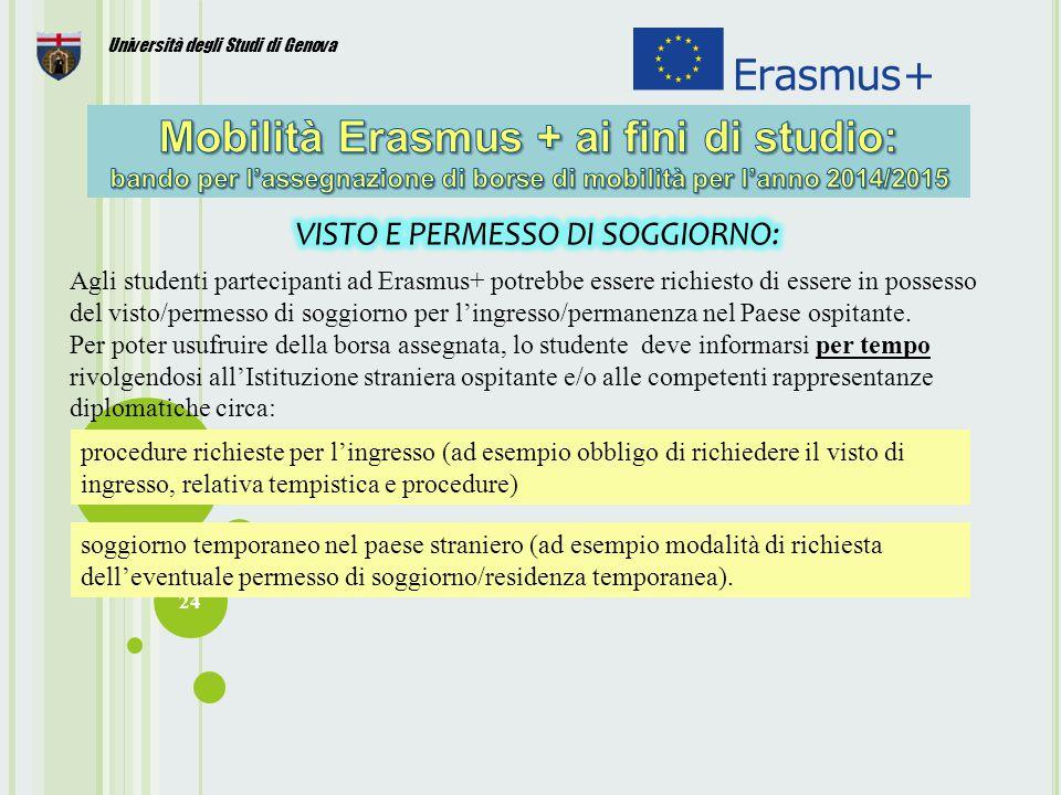 24 Università degli Studi di Genova Agli studenti partecipanti ad Erasmus+ potrebbe essere richiesto di essere in possesso del visto/permesso di soggiorno per l'ingresso/permanenza nel Paese ospitante.