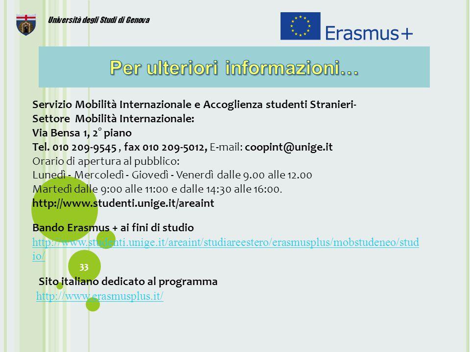 33 Università degli Studi di Genova Servizio Mobilità Internazionale e Accoglienza studenti Stranieri- Settore Mobilità Internazionale: Via Bensa 1, 2° piano Tel.