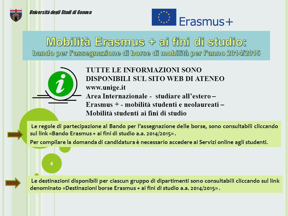 15 Università degli Studi di Genova Per informazioni rivolgersi al Settore Mobilità Internazionale: Via Bensa 1, 2° piano Tel.