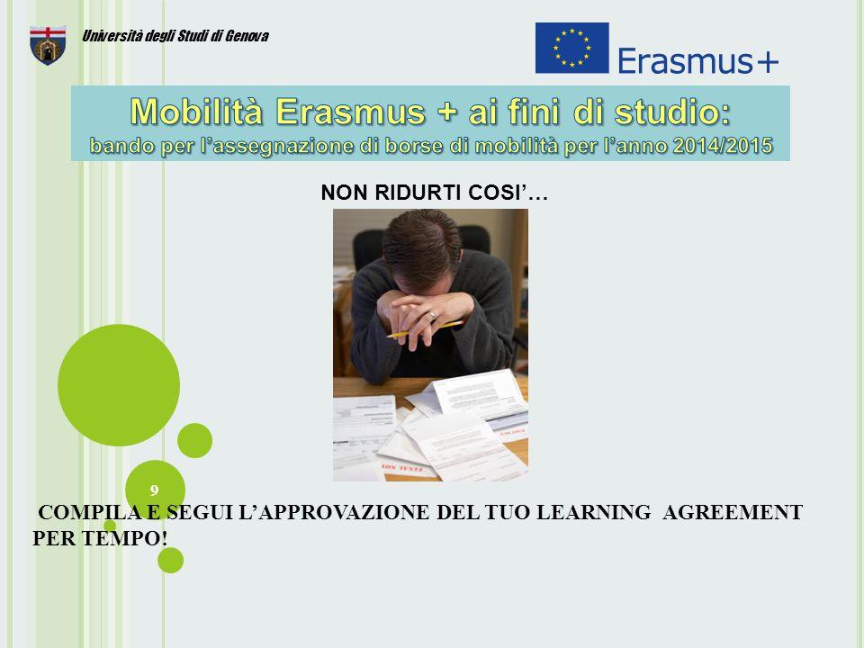 30 Università degli Studi di Genova Gli studenti che partecipano al programma Erasmus+ hanno la dispensa dal pagamento delle tasse universitarie presso l' Ateneo ospitante.