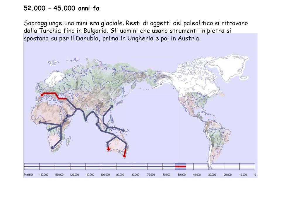 52.000 – 45.000 anni fa Sopraggiunge una mini era glaciale.