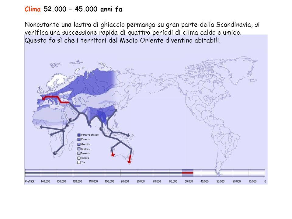 Clima 52.000 – 45.000 anni fa Nonostante una lastra di ghiaccio permanga su gran parte della Scandinavia, si verifica una successione rapida di quattro periodi di clima caldo e umido.
