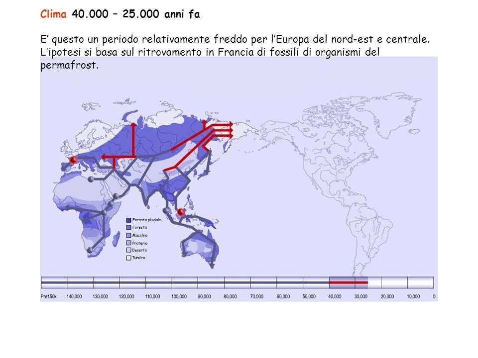 Clima 40.000 – 25.000 anni fa E' questo un periodo relativamente freddo per l'Europa del nord-est e centrale.