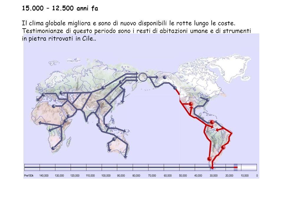 15.000 – 12.500 anni fa Il clima globale migliora e sono di nuovo disponibili le rotte lungo le coste.