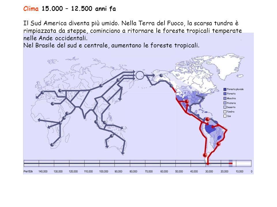 Clima 15.000 – 12.500 anni fa Il Sud America diventa più umido.