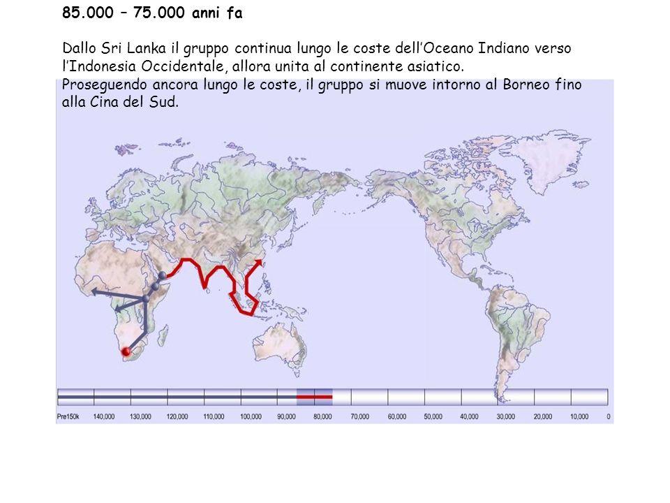 Clima 85.000 – 75.000 anni fa Una vasta cintura di deserti dalla costa occidentale dell'Africa fino alla Siberia del nord-est impedisce l'accesso in Eurasia del nord, e incoraggia i gruppi di uomini a proseguire nell'itinerario lungo le coste dell'Asia.
