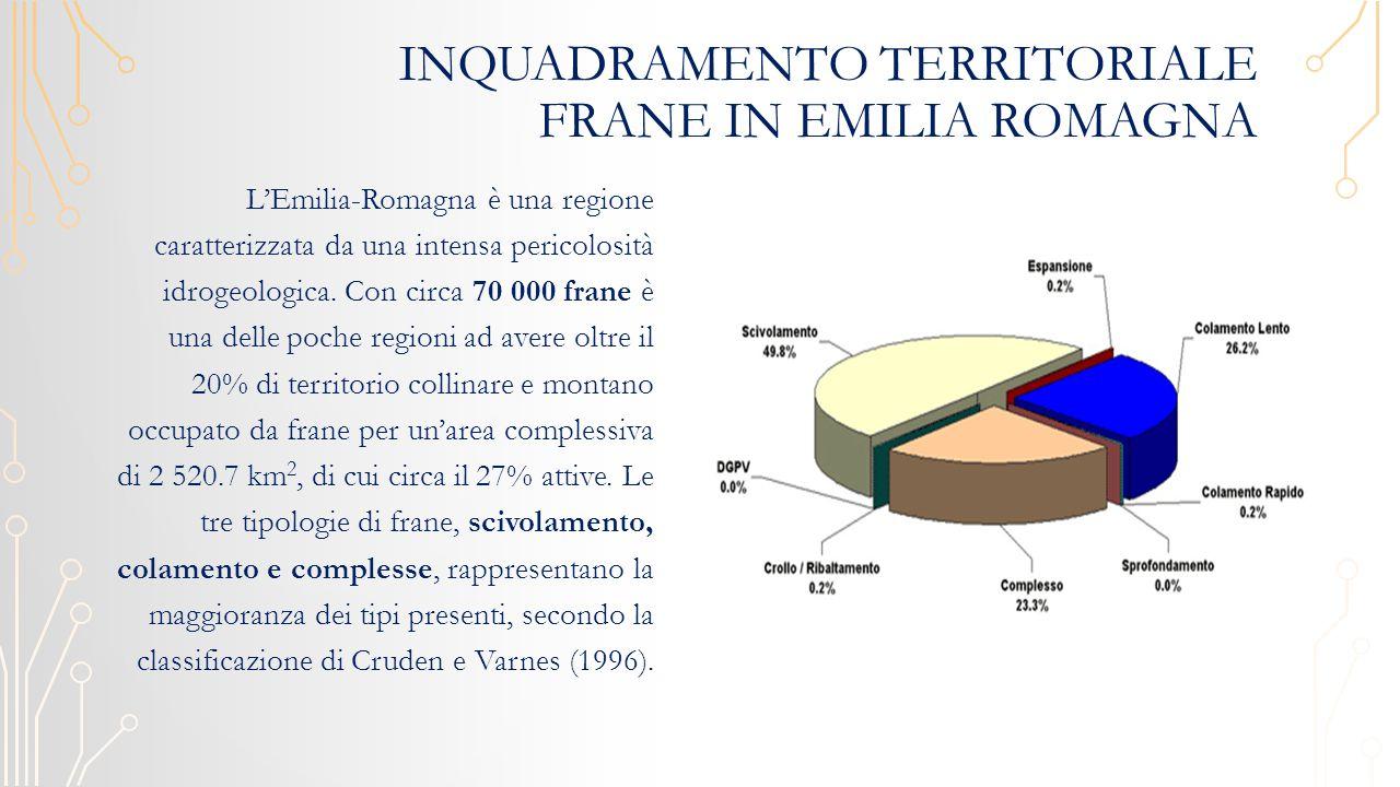INQUADRAMENTO TERRITORIALE FRANE IN EMILIA ROMAGNA L'Emilia-Romagna è una regione caratterizzata da una intensa pericolosità idrogeologica.