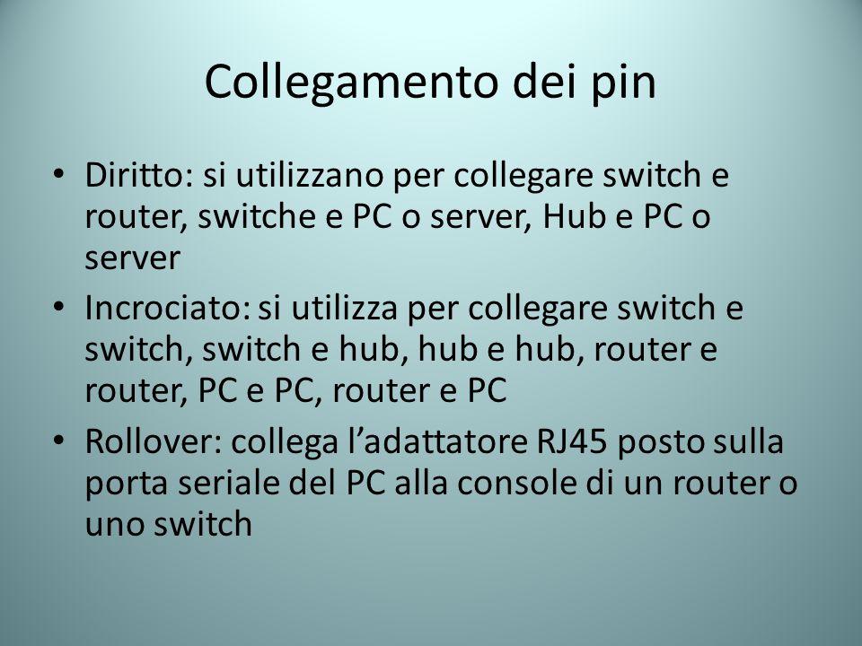 Collegamento dei pin Diritto: si utilizzano per collegare switch e router, switche e PC o server, Hub e PC o server Incrociato: si utilizza per colleg