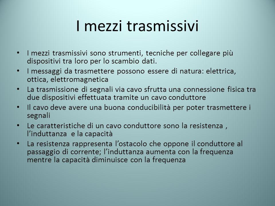 I mezzi trasmissivi I mezzi trasmissivi sono strumenti, tecniche per collegare più dispositivi tra loro per lo scambio dati. I messaggi da trasmettere