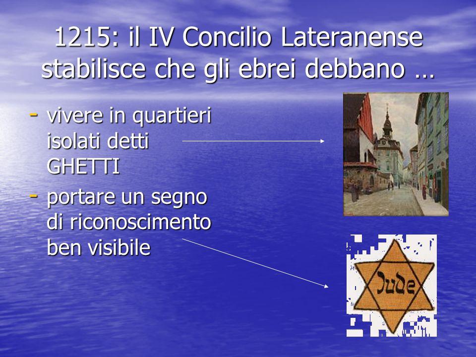 1215: il IV Concilio Lateranense stabilisce che gli ebrei debbano … - vivere in quartieri isolati detti GHETTI - portare un segno di riconoscimento ben visibile