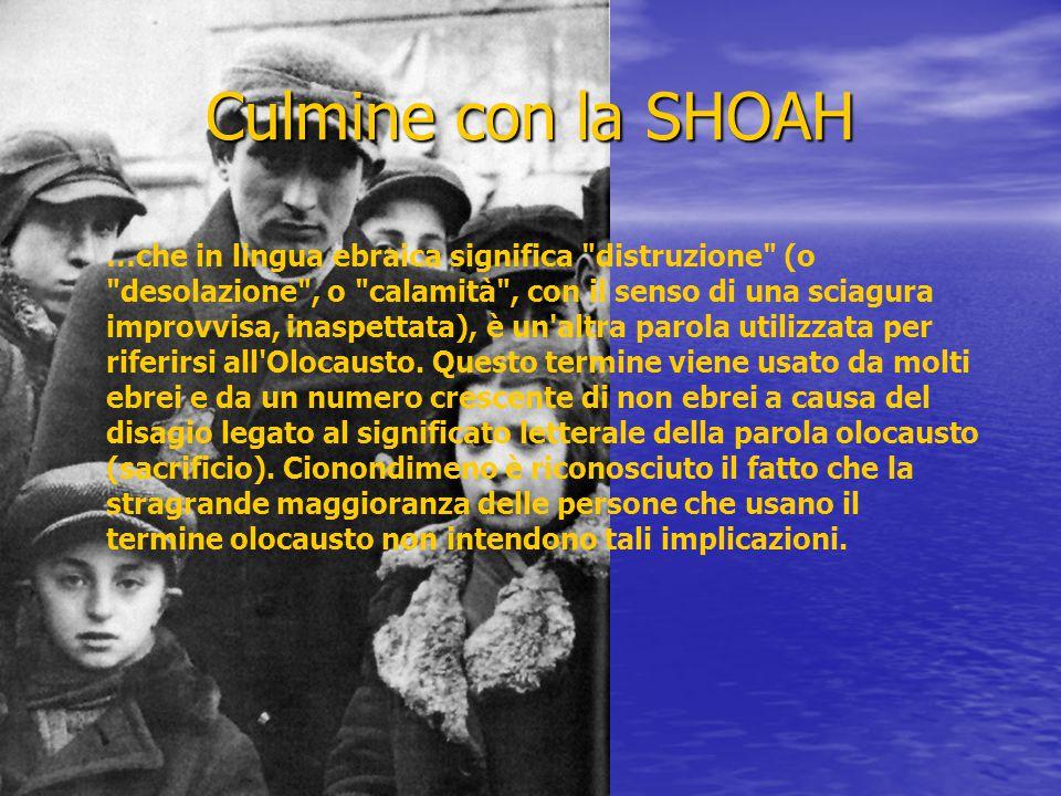 Culmine con la SHOAH …che in lingua ebraica significa distruzione (o desolazione , o calamità , con il senso di una sciagura improvvisa, inaspettata), è un altra parola utilizzata per riferirsi all Olocausto.