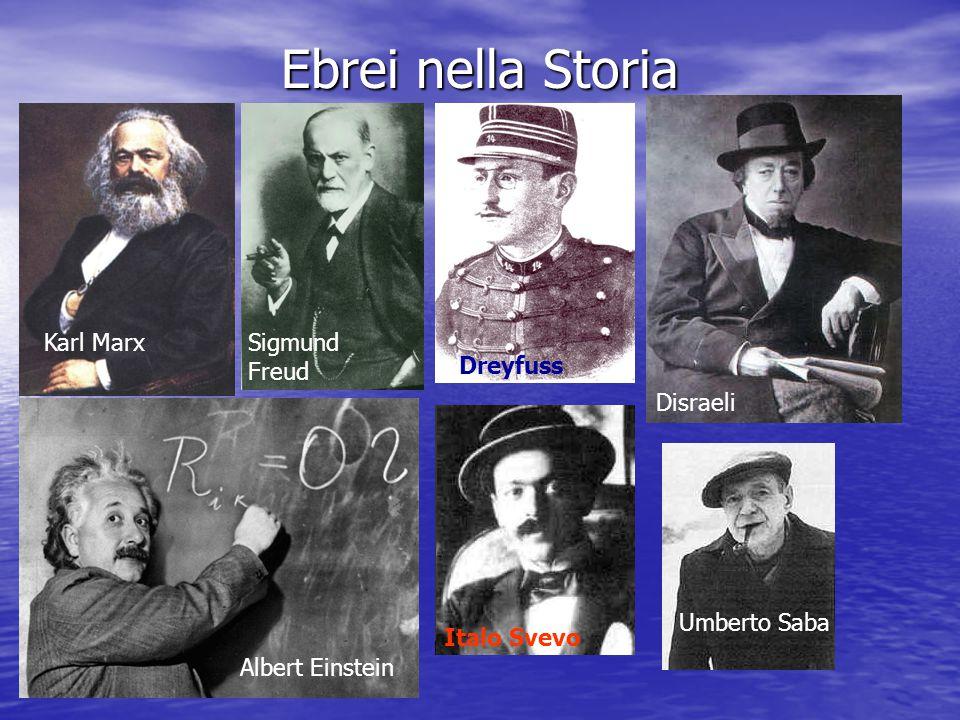Ebrei nella Storia Karl MarxSigmund Freud Dreyfuss Disraeli Albert Einstein Italo Svevo Umberto Saba