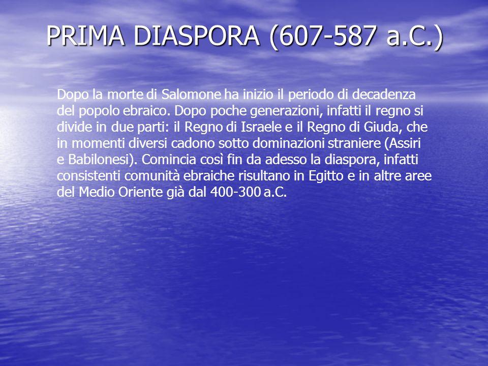 PRIMA DIASPORA (607-587 a.C.) Dopo la morte di Salomone ha inizio il periodo di decadenza del popolo ebraico.