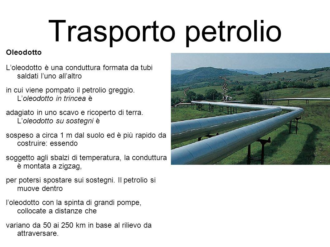 Trasporto petrolio Oleodotto L'oleodotto è una conduttura formata da tubi saldati l'uno all'altro in cui viene pompato il petrolio greggio. L'oleodott