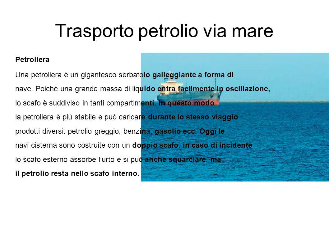 Trasporto petrolio via mare Petroliera Una petroliera è un gigantesco serbatoio galleggiante a forma di nave. Poiché una grande massa di liquido entra