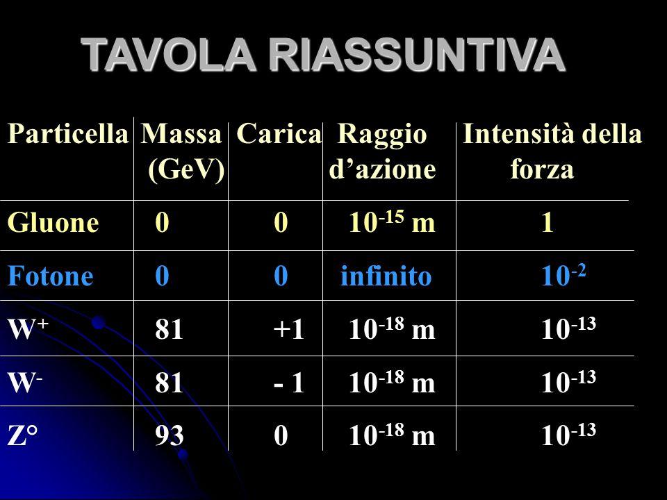 ParticellaMassa Carica Raggio Intensità della. (GeV) d'azione forza Gluone 00 10 -15 m1 Fotone 00infinito10 -2 W + 81+1 10 -18 m10 -13 W - 81- 1 10 -1