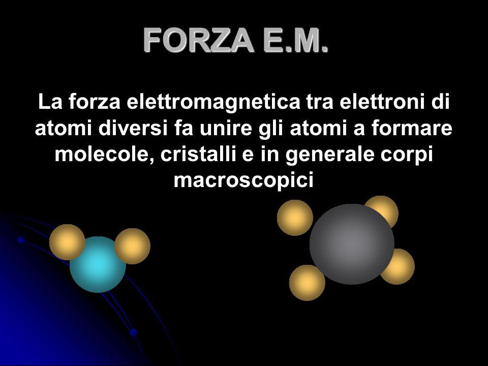 La forza elettromagnetica tra elettroni di atomi diversi fa unire gli atomi a formare molecole, cristalli e in generale corpi macroscopici FORZA E.M.