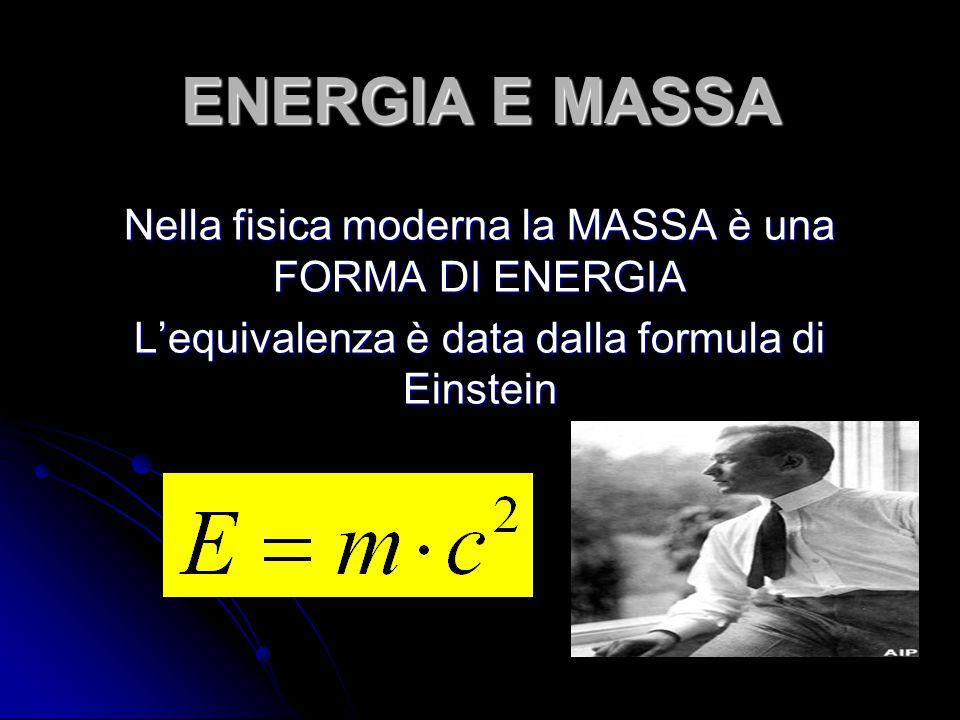 ENERGIA E MASSA Nella fisica moderna la MASSA è una FORMA DI ENERGIA L'equivalenza è data dalla formula di Einstein