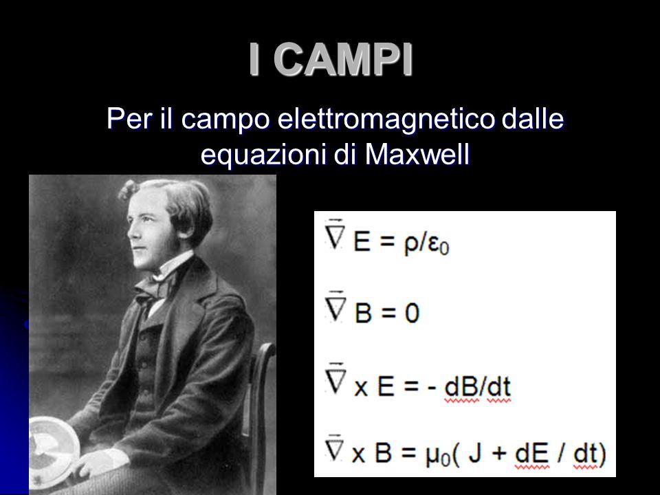 I CAMPI Per il campo elettromagnetico dalle equazioni di Maxwell