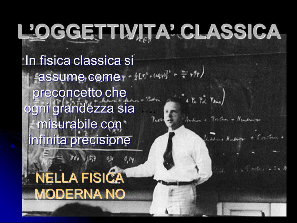 L'OGGETTIVITA' CLASSICA In fisica classica si assume come preconcetto che ogni grandezza sia misurabile con infinita precisione NELLA FISICA MODERNA N