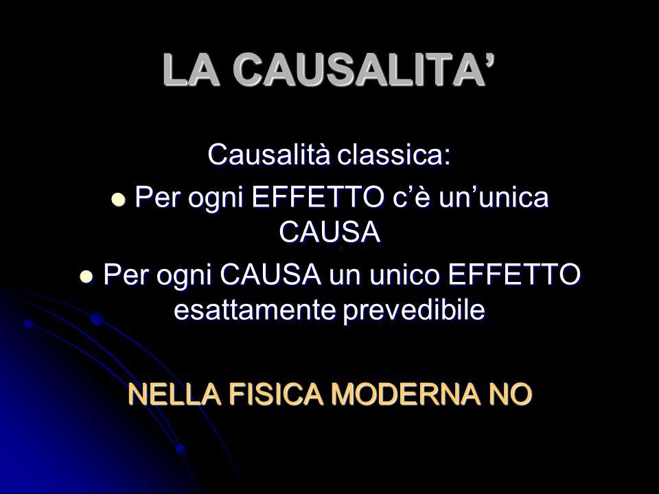 LA CAUSALITA' Causalità classica: Per ogni EFFETTO c'è un'unica CAUSA Per ogni EFFETTO c'è un'unica CAUSA Per ogni CAUSA un unico EFFETTO esattamente