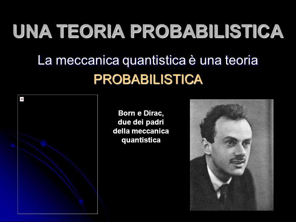 UNA TEORIA PROBABILISTICA La meccanica quantistica è una teoria PROBABILISTICA Born e Dirac, due dei padri della meccanica quantistica
