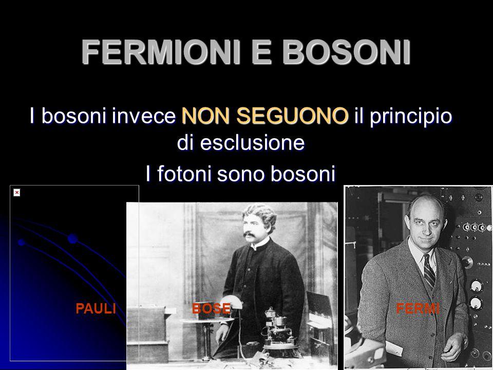 FERMIONI E BOSONI I bosoni invece NON SEGUONO il principio di esclusione I fotoni sono bosoni PAULI BOSE FERMI