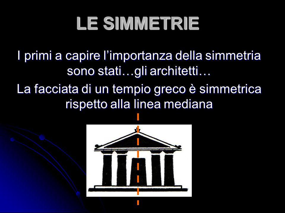 LE SIMMETRIE I primi a capire l'importanza della simmetria sono stati…gli architetti… La facciata di un tempio greco è simmetrica rispetto alla linea