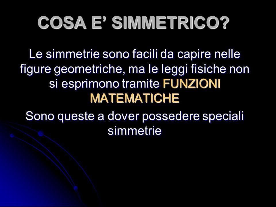 COSA E' SIMMETRICO? Le simmetrie sono facili da capire nelle figure geometriche, ma le leggi fisiche non si esprimono tramite FUNZIONI MATEMATICHE Son