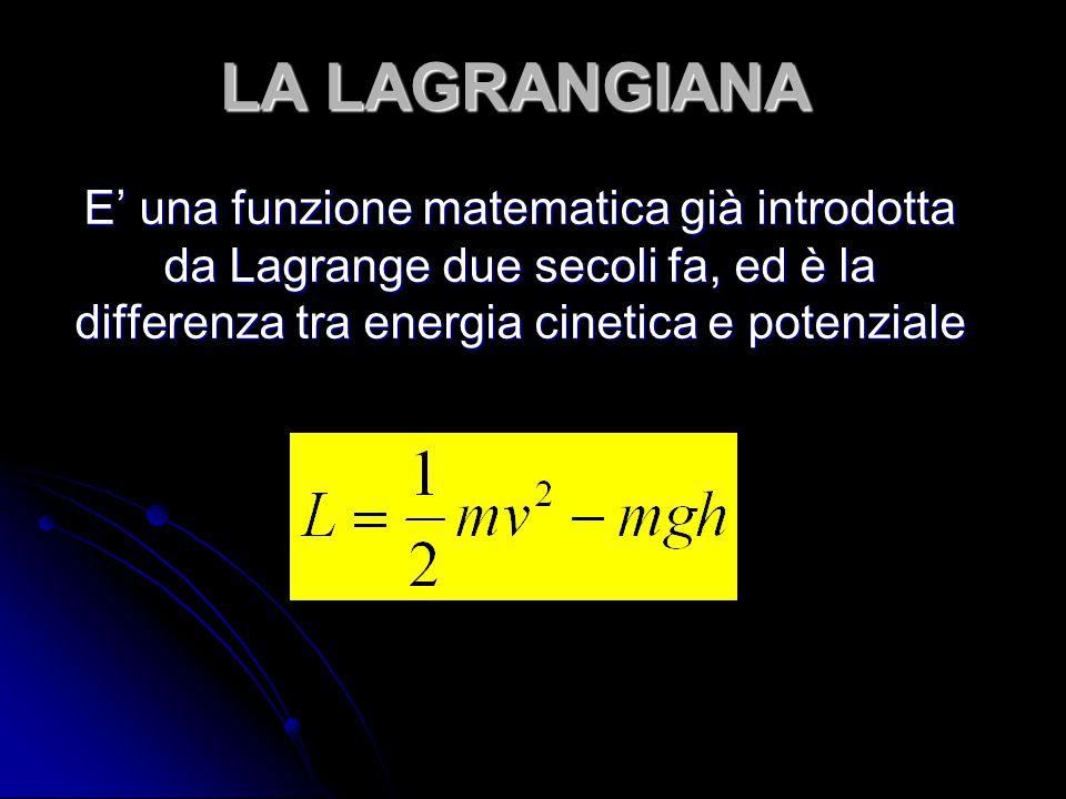 LA LAGRANGIANA E' una funzione matematica già introdotta da Lagrange due secoli fa, ed è la differenza tra energia cinetica e potenziale