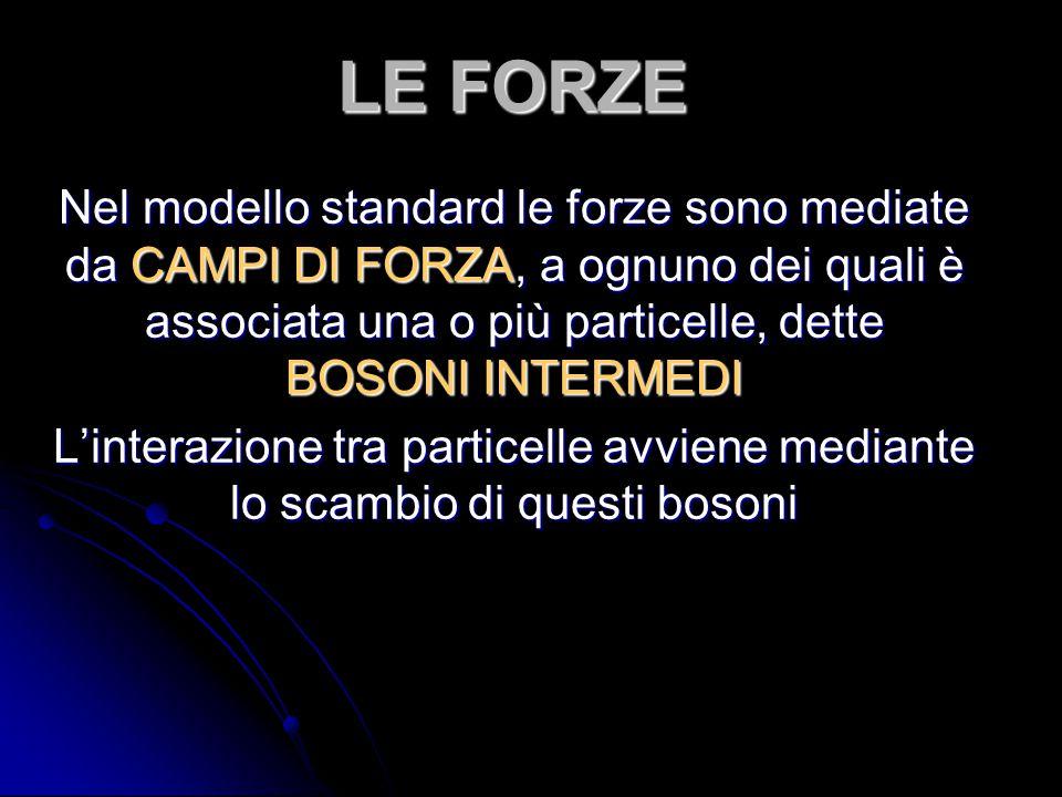 LE FORZE Nel modello standard le forze sono mediate da CAMPI DI FORZA, a ognuno dei quali è associata una o più particelle, dette BOSONI INTERMEDI L'i