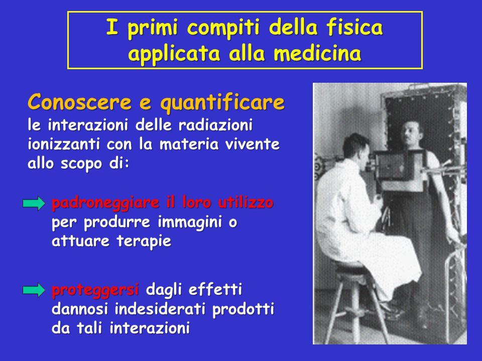 I primi compiti della fisica applicata alla medicina Conoscere e quantificare le interazioni delle radiazioni ionizzanti con la materia vivente allo s