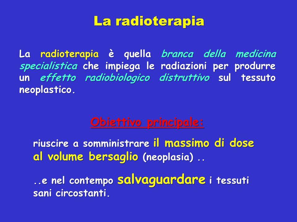 La radioterapia La radioterapia è quella branca della medicina specialistica che impiega le radiazioni per produrre un effetto radiobiologico distrutt