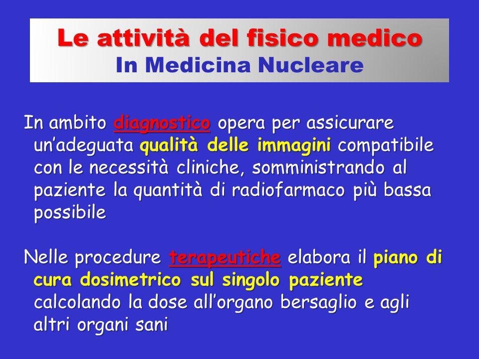Le attività del fisico medico In Medicina Nucleare In ambito diagnostico opera per assicurare un'adeguata qualità delle immagini compatibile con le ne
