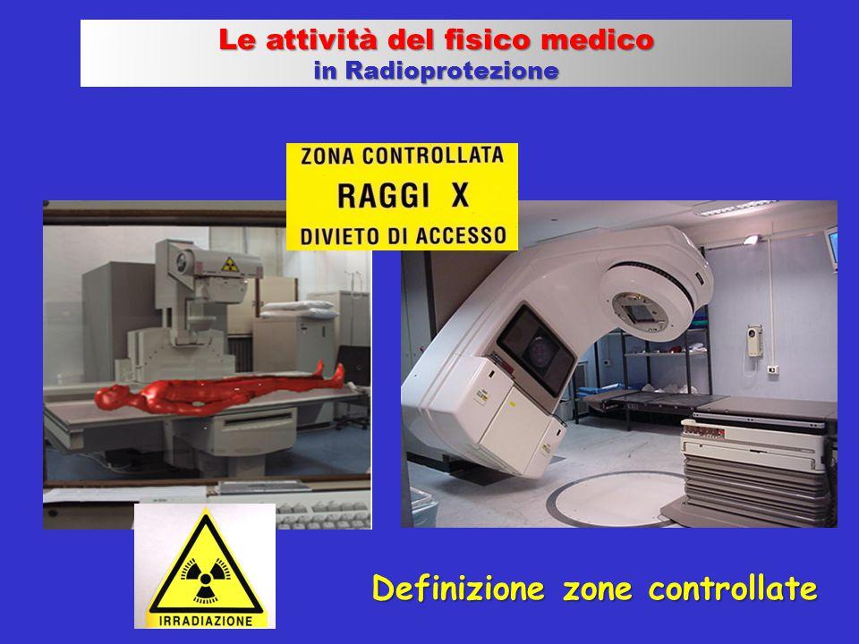 Definizione zone controllate Le attività del fisico medico in Radioprotezione