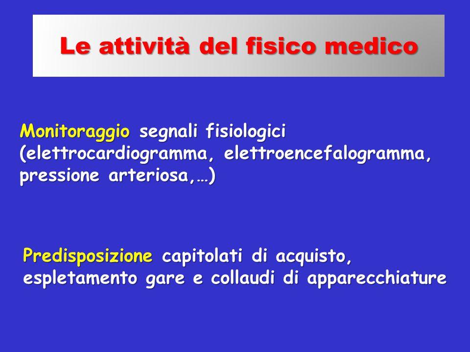 Monitoraggio segnali fisiologici (elettrocardiogramma, elettroencefalogramma, pressione arteriosa,…) Le attività del fisico medico Predisposizione cap