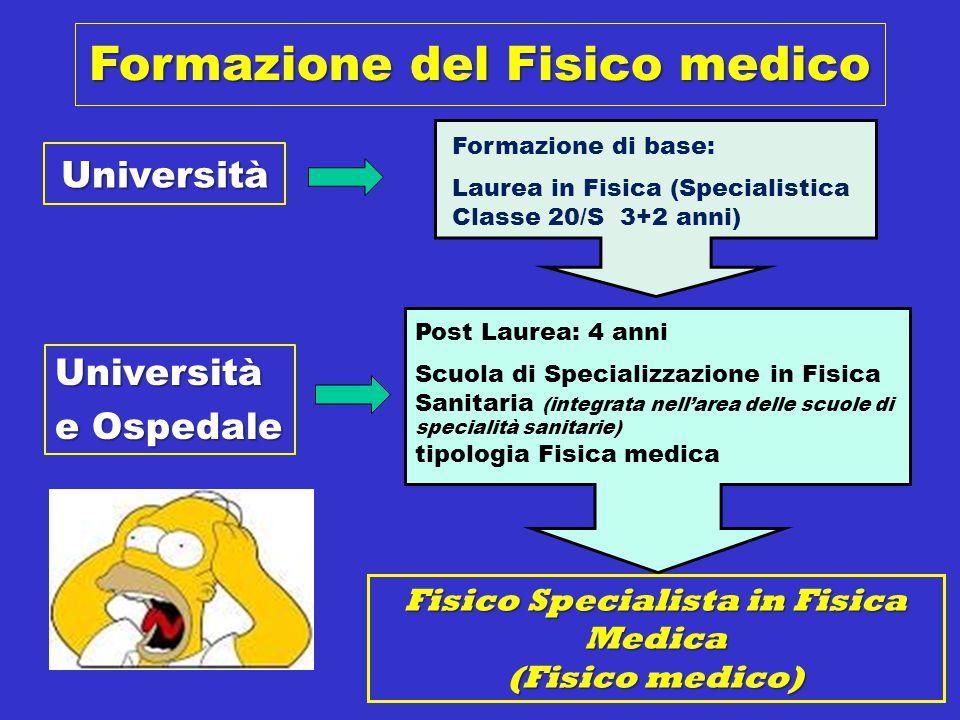 Formazione del Fisico medico Fisico Specialista in Fisica Medica (Fisico medico) Università e Ospedale Formazione di base: Laurea in Fisica (Specialis
