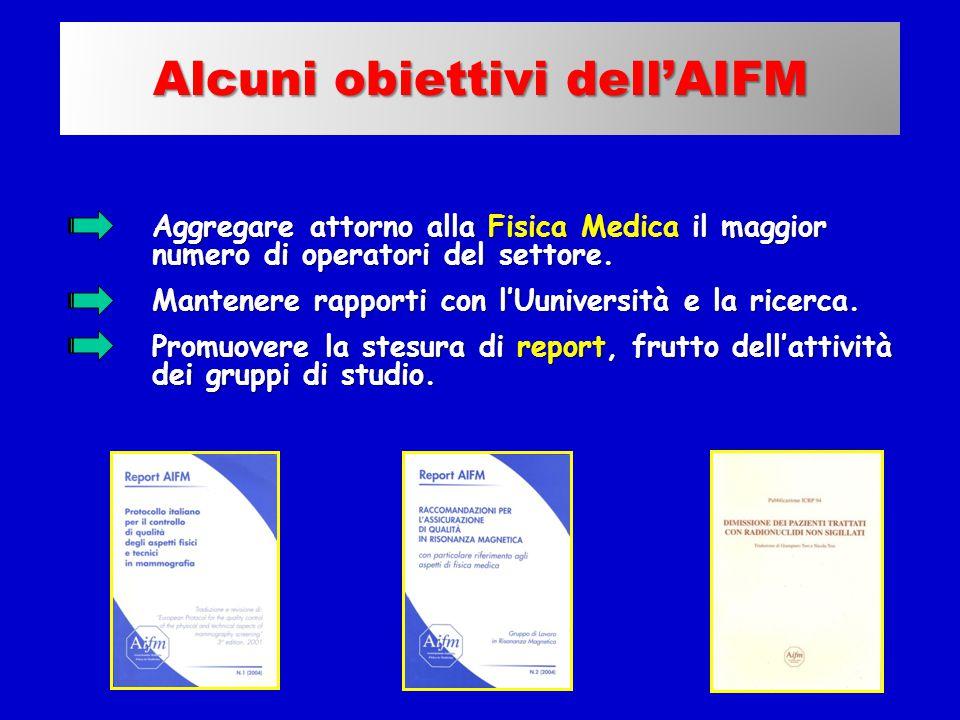 L'associazione AIFM : I report Aggregare attorno alla Fisica Medica il maggior numero di operatori del settore. Mantenere rapporti con l'Uuniversità e