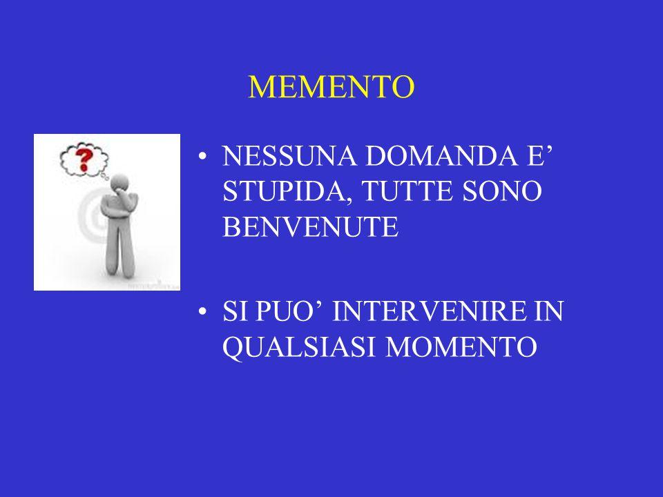 MEMENTO NESSUNA DOMANDA E' STUPIDA, TUTTE SONO BENVENUTE SI PUO' INTERVENIRE IN QUALSIASI MOMENTO